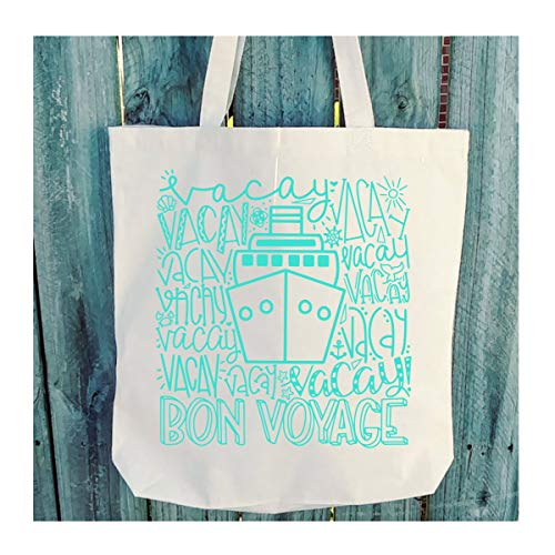 Bon Voyage Typography Student Tote - 6 oz Light Weight Natural Canvas - Choice of Print Color