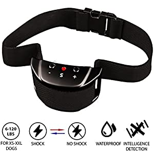 [UPGRADED 2018 Version] Bark Collar with NEW Chip. BEST Dog Shock Anti-Barking Collar. No Bark Control w/5 Levels for Small / Medium / Large Dogs / Electronic Pet Safe Stop Device (Bark-Black)