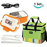 12V Car Use Electric Heating Lunch Box , Portable Removable 2-Compartment Stainless Steel Container With Insulation bag , Camping Meal Heater Food Warmer Bento Boxes And Car Charger For Adult , Doctor