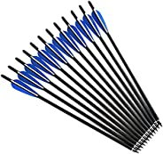 12 Pieces Hunting Target Arrows Crossbow Bolt 16/17/18/20/22 Inches Crossbow Carbon Arrow with 125 Grain Cross
