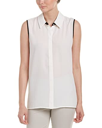0dc7469abf4 Vince Camuto Women's Sleeveless Collared Button Down Blouse with Back Pleat  New Ivory X-Small
