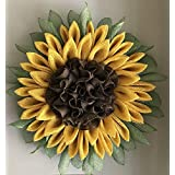 Sunflower Poly Burlap Mesh Welcome Front Door Country Farmhouse Summer Yellow Wreath