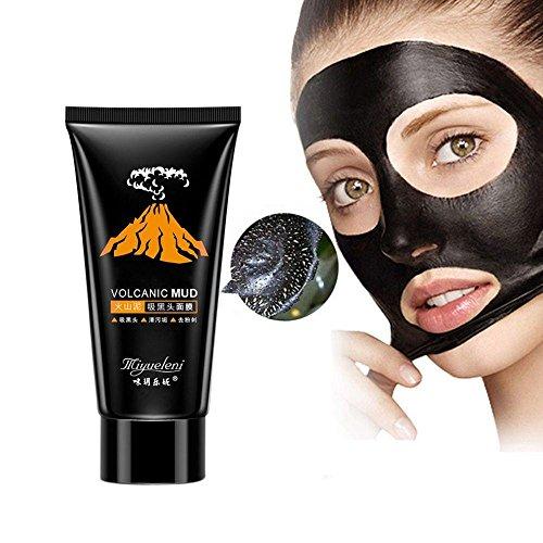 MalaRun Beauty Blackhead Remover Acne Treatment Volcanic Black Mud Face Mask Facial Deep Cleansing Skin Care Nose Mask (Mud Deep Cleansing Mask Volcanic)