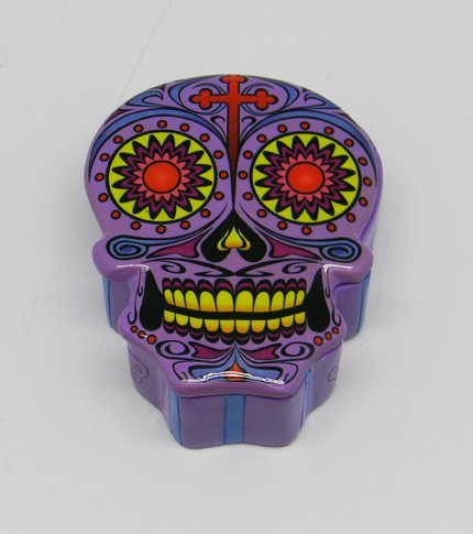 Fantasy Gifts - caja en forma de calavera mexicana de azúcar del Día de Muertos, color morado: Amazon.es: Hogar