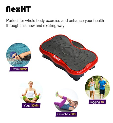 NexHT Mini Fitness Vibration Platform Whole Body Shape Exercise Machine with Built-in USB Speaker(89012A), Fit Vibration Plate Massage Workout Trainer with Two Bands &Remote,Max User Weight 330lbs.Red by NexHT (Image #1)
