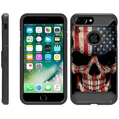 TurtleArmor | Compatible for Apple iPhone 6 Plus Case | iPhone 6s Plus Case [Armor Pro] Full Body Protection Armor Hybrid Kickstand Rugged Cover Holster Belt Clip Case - US Flag Skull (Us Army Iphone 4 Case)