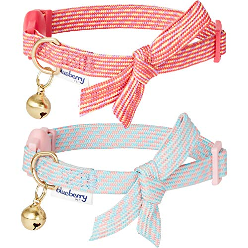 Blueberry Pet 2019 New Pack of 2 Cat Collars, Glam Cutie Diagonal Striped Adjustable Breakaway Cat Collar with Bowtie & Bell, Neck 9