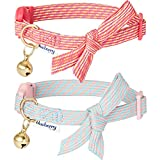 """Blueberry Pet Pack of 2 Cat Collars, Glam Cutie Diagonal Striped Adjustable Breakaway Cat Collar with Bowtie & Bell, Neck 9""""-13"""""""