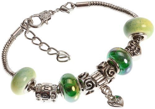 Mother's Charm Bracelet with Removable Pandora Compatible Italian Murano Glass Beads for Moms in Chameleon Green, 7