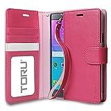 Galaxy Note 4 Case, TORU [Prestizio Wallet] Note 4 Wallet Case with [CARD SLOT][ID HOLDER][KICKSTAND][WRIST STRAP] - Premium Wristlet Leather Flip Cover Case for Samsung Galaxy Note 4 - Hot Pink