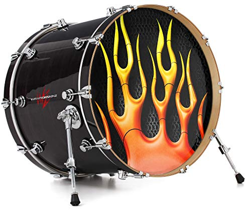 """Vinyl Skin Decal Wrap for 22"""" Bass Kick Drum Head Metal Flames - DRUM HEAD NOT INCLUDED"""