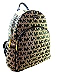 New Michael Kors MK Logo Signature Backpack Book Bag Abbey Black Beige