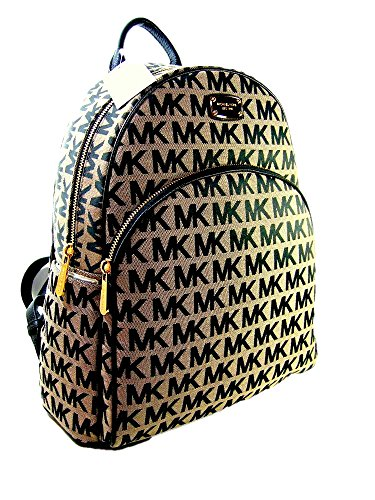 1e083acc6caa47 New Michael Kors MK Logo Signature Backpack Book Bag Abbey Black Beige by Michael  Kors (