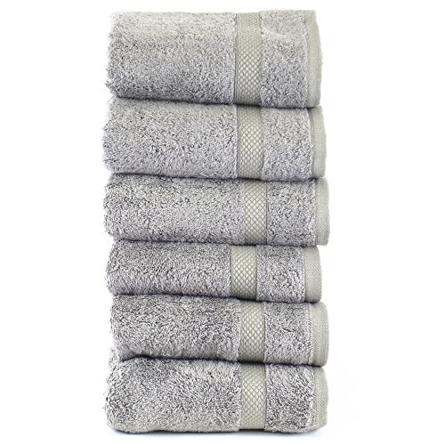 Luxury Hotel & Spa Towel 100% Genuine Turkish Cotton Bamboo (Gray, Hand Towel  - Set of 6)
