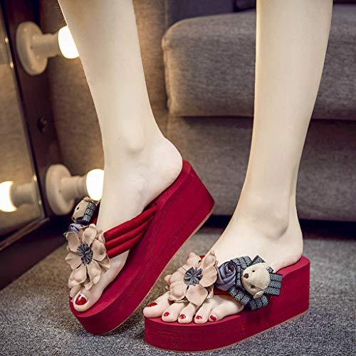 Chaussure Ouvert Herringbone Pantoufles Sandales Bout Manuel Vacances Flip Couleur zycshang Fleur Femmes Jardin De Unie Wedges Voyage Flops Red Dessin Plage Animé Piscine q77wgvOW
