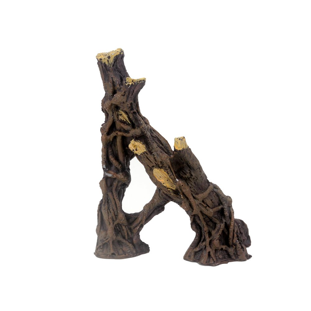 (A-shaped) Senzeal Simulate Root Branches Resin Natural Driftwood for Reptiles Box Aquarium Branches Decoration Turtle Hut Fish Habitat Hide Cave