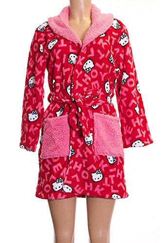 Hello Kitty Pattern Red Pink Pocket Soft Original Plush Shower Gown (L) (Womens Hello Kitty Bathrobe)