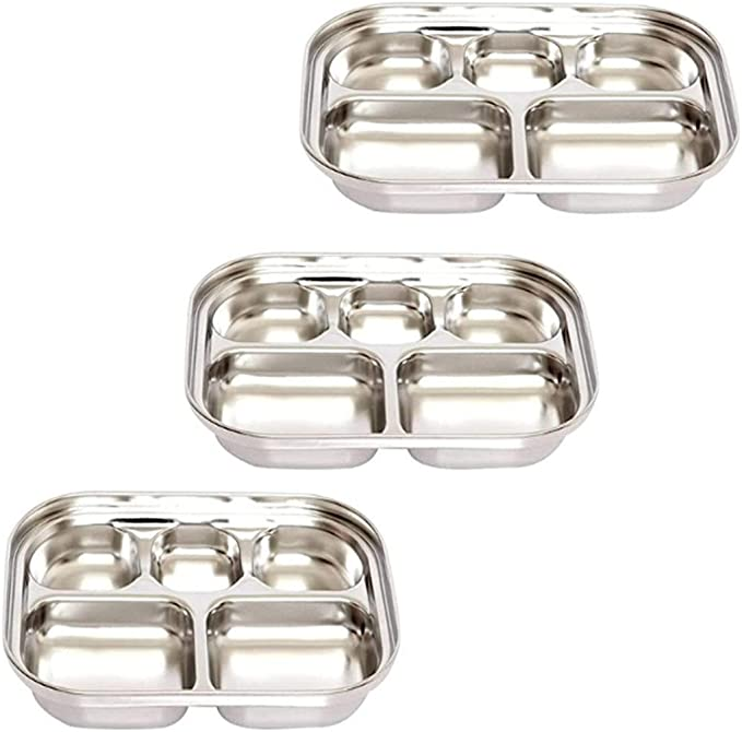 Sections Divided Sauce Tray Stainless Steel Seasoning Dish Kid Snack Tray S