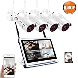 Cheap Wireless Camera Security System 4 Channel,1080P Home Video Security Camera System with 12Inch Monitor 4pcs 2.0MP WiFi Indoor/Outdoor Surveillance Camera,Night Vision,App,1TB HDD Pre-Installed ANRAN