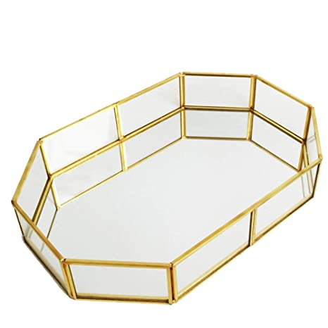 Amazon.com: OurHommie Gold Mirror Tray, Handmade Metal ...