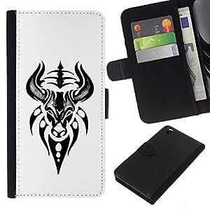 For HTC DESIRE 816 Case , Bull Head Art Drawing Tattoo - la tarjeta de Crédito Slots PU Funda de cuero Monedero caso cubierta de piel
