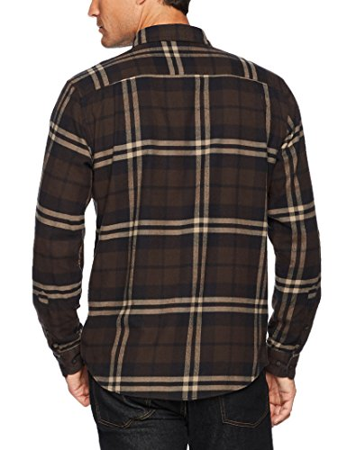 Lunga A Essentials Amazon Manica brown Marrone In Flanella Plaid Regular Uomo Camicia q0RwXgRx