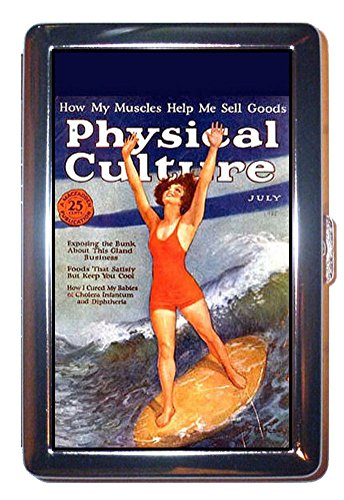 Pin Up Girl Surfing 1925 Physical Culture Mag ID Wallet or Cigarette Case USA -