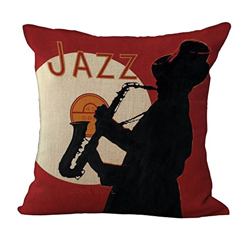 ME COO Jazz Band Graphic Printing Pillowcase Living Room Decoration Hug Pillow Covers 18 X 18Inches 1pcs