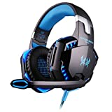 EACH G2000 PC Game Headset, Mowon 3.5mm Stereo Earphone LED Lighting Gaming Over-Ear Headphone Headband with Mic Volume Control & Noise Canelling for PC Computer Game, Blue