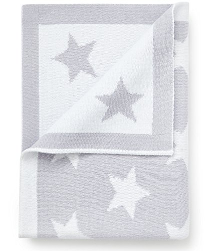 Cotton Baby Blanket Silver Grey with Stars Reversible Pixie and Jack