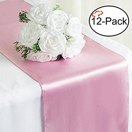 Tiger Chef 12 Pack Pink 12 X 108 Inches Long Satin Table Runner For Wedding