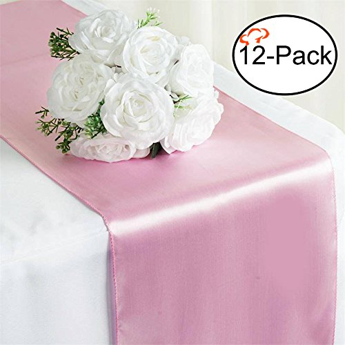 Tiger Chef 12-Pack Pink 12 x 108 inches Long Satin Table Runner for Wedding, Table Runners fit Rectange and Round Table Decorations for Birthday Parties, Banquets, Graduations, Engagements