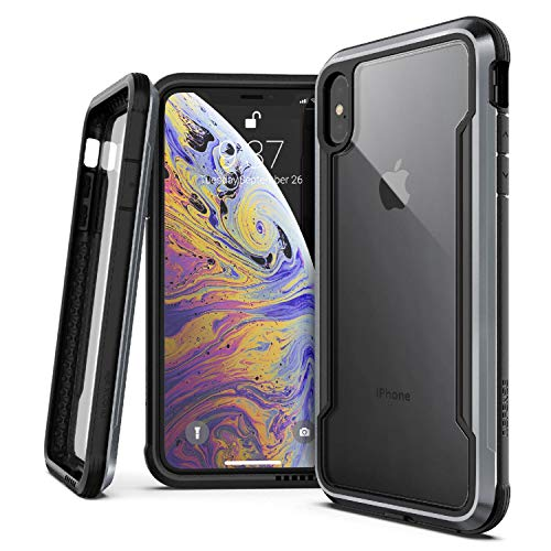 X-Doria Defense Shield Series, iPhone Xs Max - Military Grade Drop Tested, Anodized Aluminum, TPU, and Polycarbonate Protective Case for Apple iPhone Xs Max, 6.5 Inch Screen (Black)