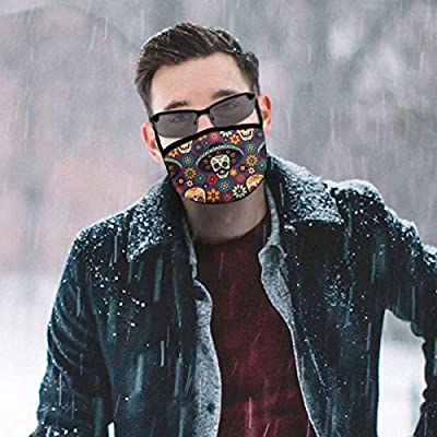 Dust Mask Sugar Skull for Day of The Dead Fashion Anti-dust Reusable Cotton Comfy Breathable Safety Mouth Masks Half Face Mask for Women Man Running Cycling Outdoor