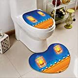 PRUNUS Bathroom Non-Slip Floor Mat Religious Celebration of India with Lights Candles and Night Scenery Printed Cushion Non-slip