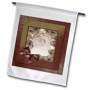 Beverly Turner Flora Design - Sepia Rose Frame with Bow - 12 x 18 inch Garden Flag (fl_49118_1)