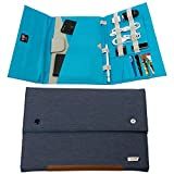 Tablet Sleeve Case hand carry Cover (Up To 10.5 inch) for iPad Air iPad 4, 3, 2 iPad Pro 9.7' 10.5'' MacBook 12' Kindle fire Samsung Galaxy tab with accessories document pencil holder-Blue Turquoise
