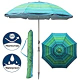 Blissun 7' Portable Beach Umbrella with Sand Anchor,Tilt Pole, Carry Bag, Air Vent (Green Stripe)