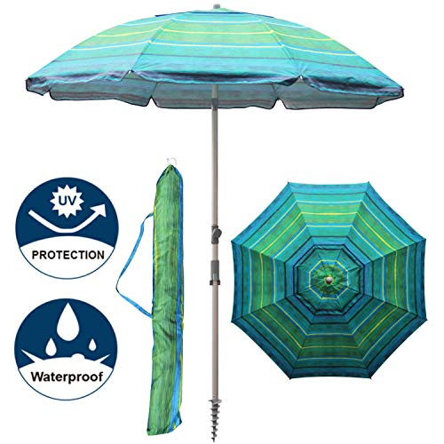 Blissun 7.2' Portable Beach Umbrella with Sand Anchor, Tilt Pole, Carry Bag, Air Vent (Green Stripe)