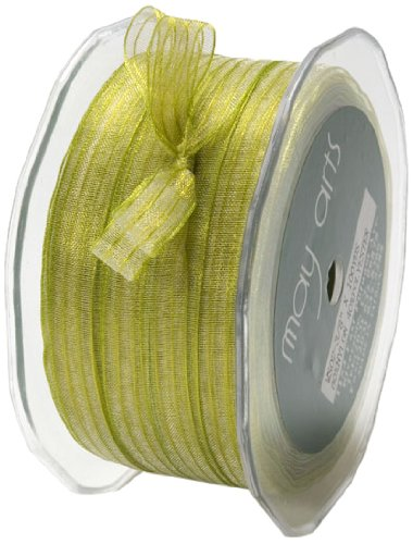 May Arts 3/8-Inch Wide Ribbon, Celery Sheer Iridescent by May Arts