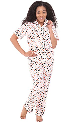Alexander Del Rossa Women's Lightweight Button Down Pajama Set, Short Sleeved Cotton Pjs, 2XL Orange and Gray Polka Dots with Black Piping ()