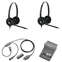Plantronics HW261N Headset Training Bundle | Headsets, M22 Digital Headser Adapter, Y-Training Splitter Cord #27019-03 (with Mute button) | Use for Coaching, Supervising, Training, Monitoring