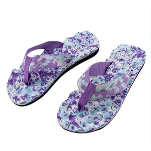 Price comparison product image Han Shi Fashion Womens Summer Flip Flops Shoes Antiskid Sandals Soft Slipper (Purple, 6.5)