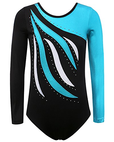 BAOHULU Toddler Girls Gymnastics Leotards One-Piece 3-12 Years Practice Outfit (Sky Blue Long, 14A(13-14Y))