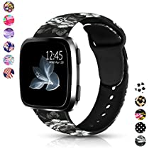 Digihero Bands Compatible with Fitbit Versa,Soft Silicone Fadeless Pattern Printed Wristband Versa Smart Fitness Watch, Large Small