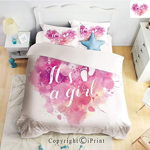 Homenon Bedding 4 Piece Sheet,Heart Shaped Paintbrush Its A Girl Quote Baby Footprints,Fuchsia Pink White,Full Size,Wrinkle,Fade Resistant -