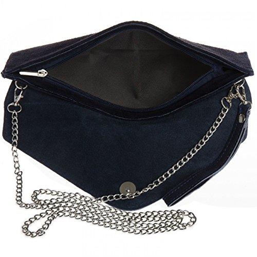 CASPAR Pelle Blu Scuro Scamosciata in a Donna TL708 Pochette Busta rwTpYOrx