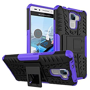 Dooki, Honor 7 Coque, Rugueux Fort Robuste [High Impact] [Heavy Duty] [antichoc] [Résistance Chute] [Non-Skid] [Hybrid 2 In 1] Le caoutchouc de silicone dur [Dual Layer] Housse de protection Téléphone Etui pour Huawei Honor 7 (I-4)