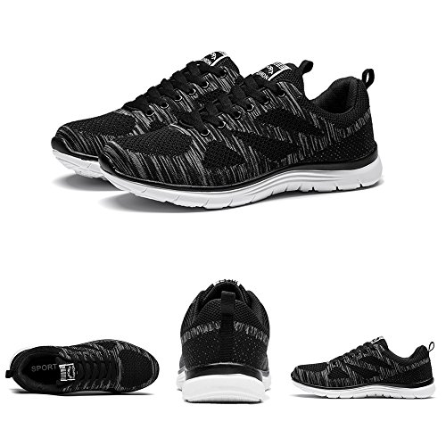 Athletic Lace Grey Black Men's Fly Shoes Fashion Blue 44 Chaussures 39 Red Sports Wires Sneakers Black Mesh up xAWpWO18q4