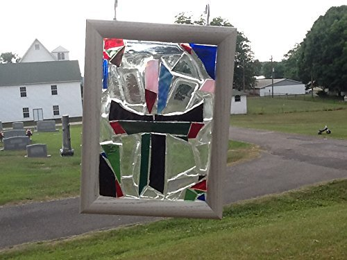 Stained Glass Cross Window Art Sun Catcher, Christian Art, Religious Art, Faith